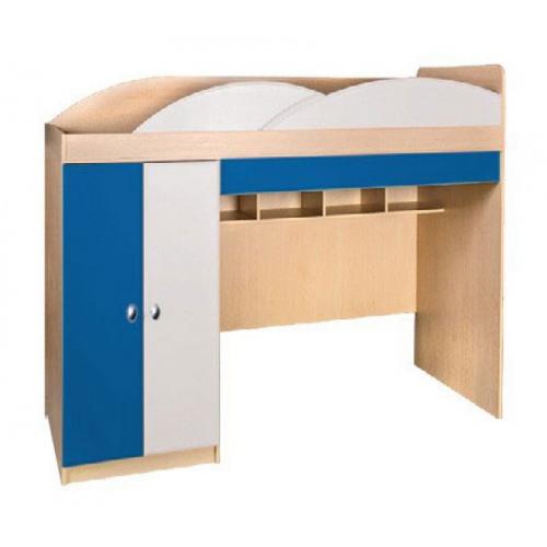 Кровать-горка  Гуливер белый глянец/красная белая/синяя, Модерн, фото 1